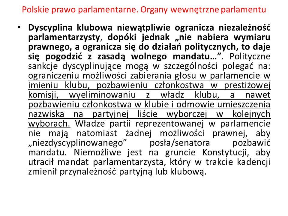 Polskie prawo parlamentarne. Organy wewnętrzne parlamentu