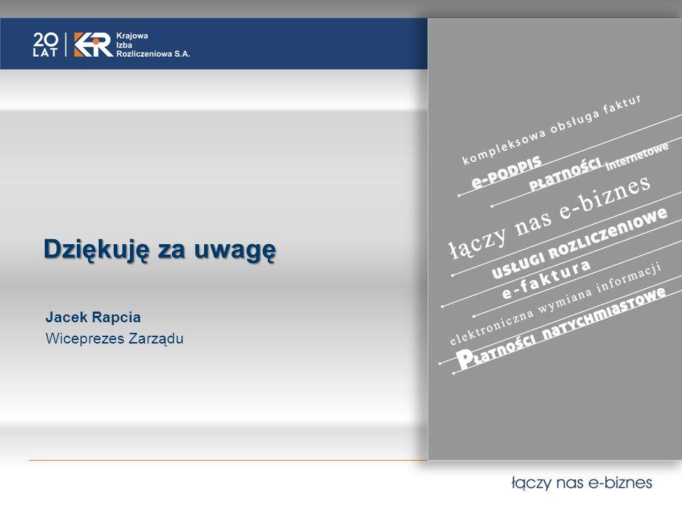 Dziękuję za uwagę Jacek Rapcia Wiceprezes Zarządu