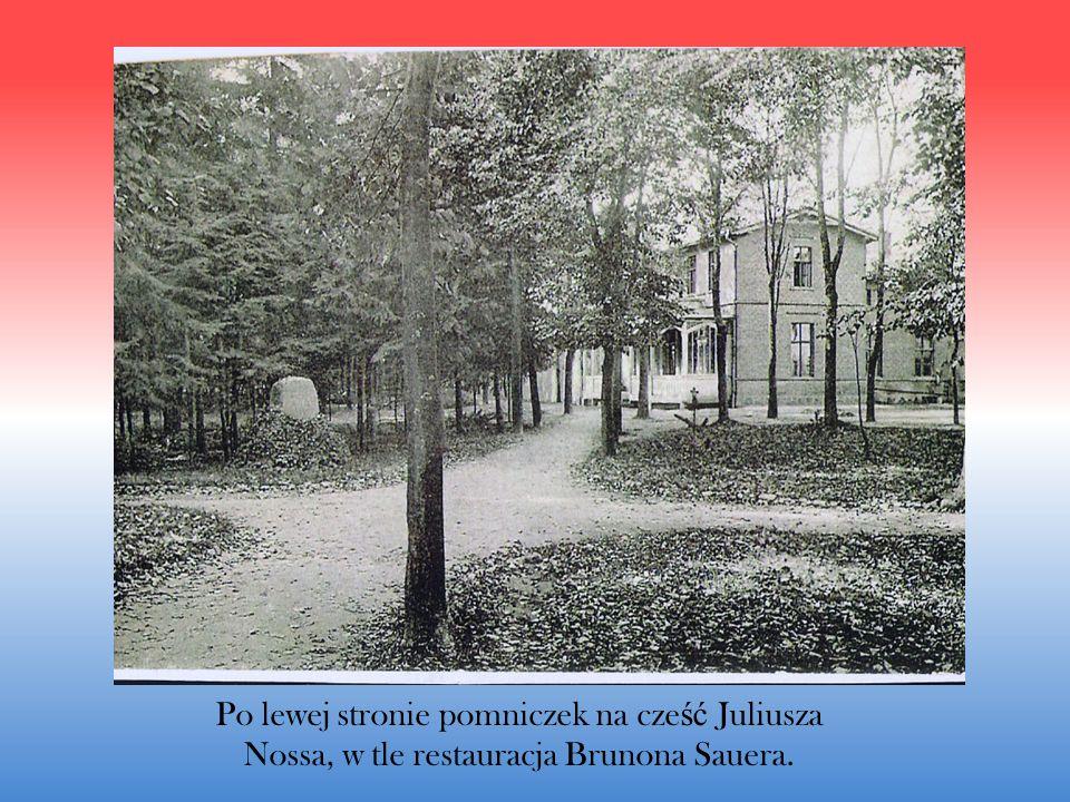 Po lewej stronie pomniczek na cześć Juliusza Nossa, w tle restauracja Brunona Sauera.