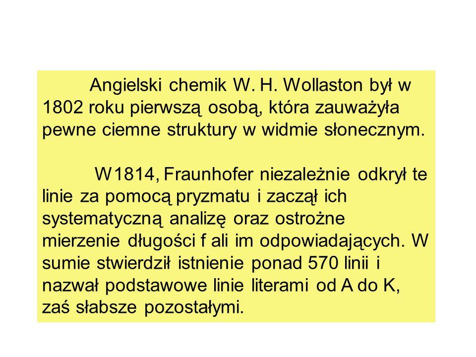 Angielski chemik W. H. Wollaston był w 1802 roku pierwszą osobą, która zauważyła pewne ciemne struktury w widmie słonecznym.