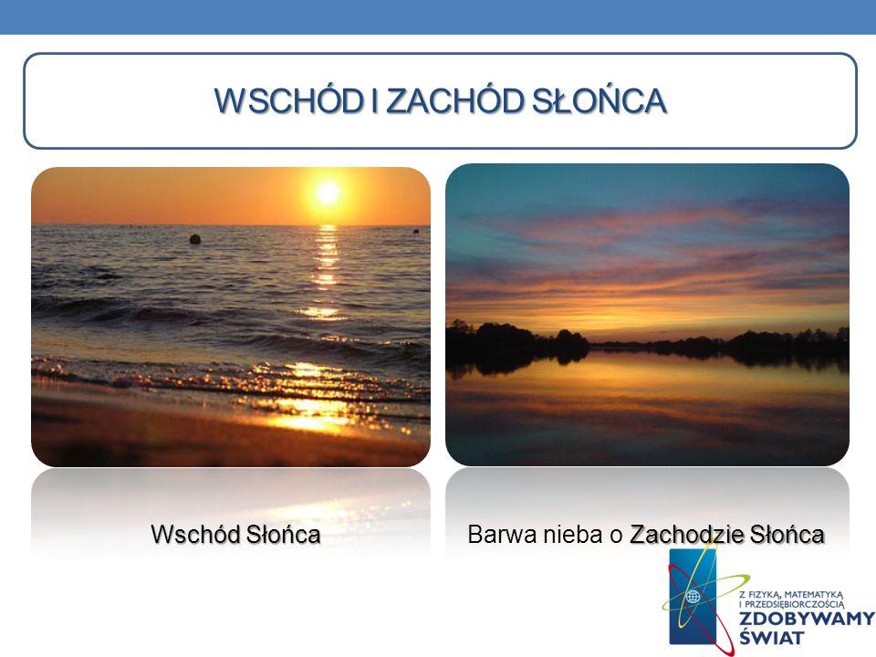 Wschód i zachód słońca Wschód Słońca Barwa nieba o Zachodzie Słońca