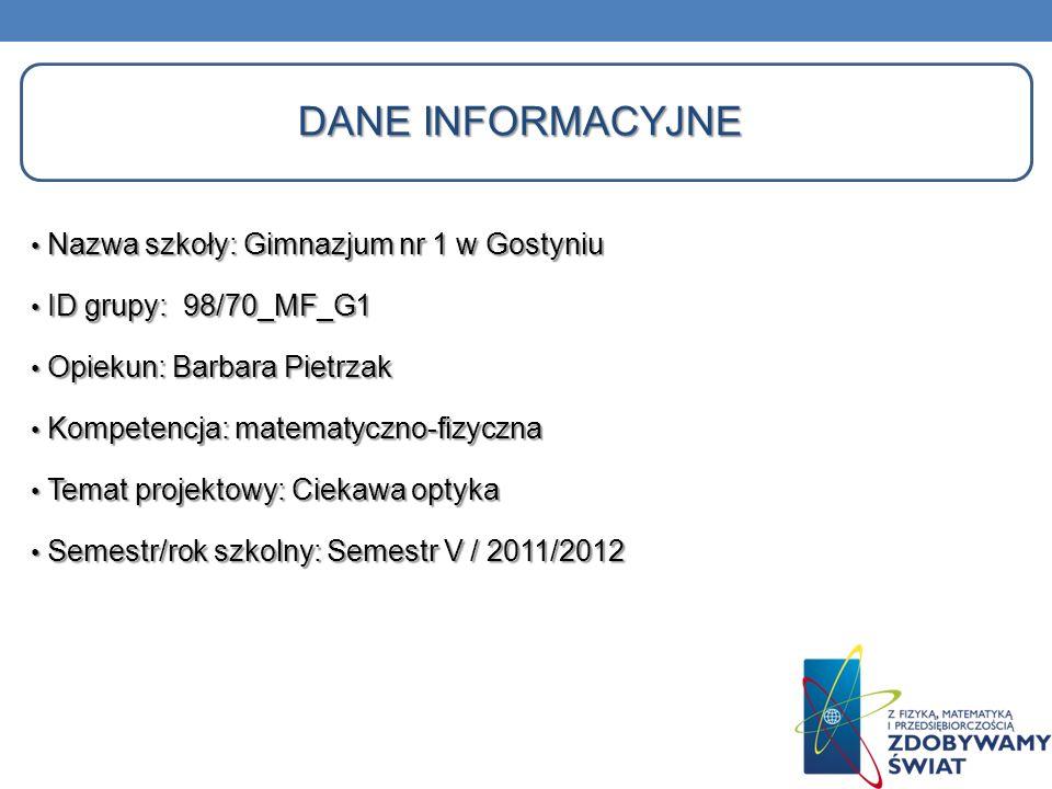Dane informacyjne Nazwa szkoły: Gimnazjum nr 1 w Gostyniu