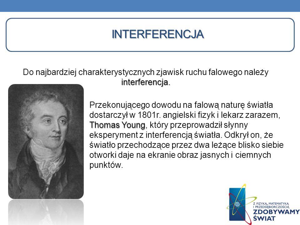 INTERFERENCJA Do najbardziej charakterystycznych zjawisk ruchu falowego należy interferencja.