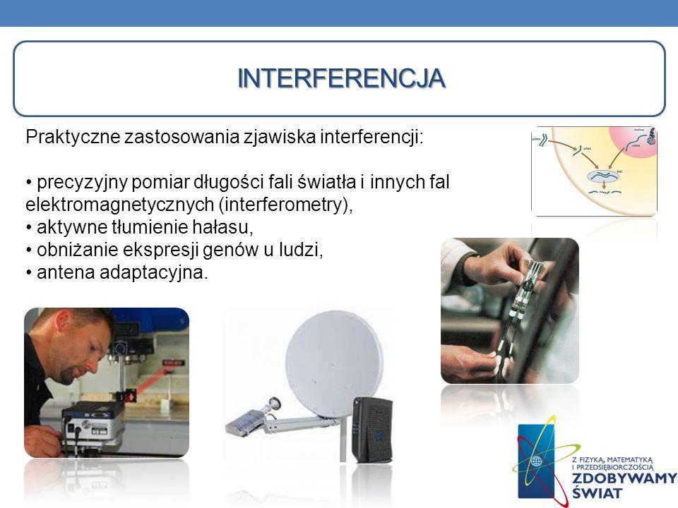 INTERFERENCJA Praktyczne zastosowania zjawiska interferencji: