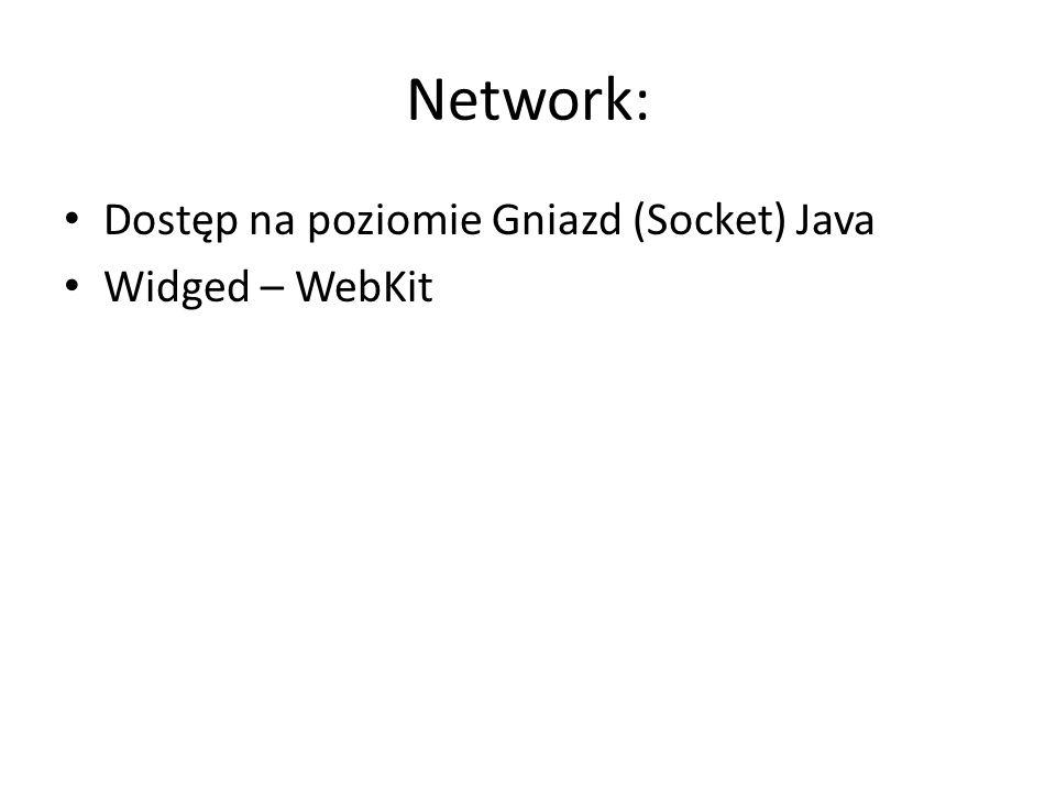 Network: Dostęp na poziomie Gniazd (Socket) Java Widged – WebKit