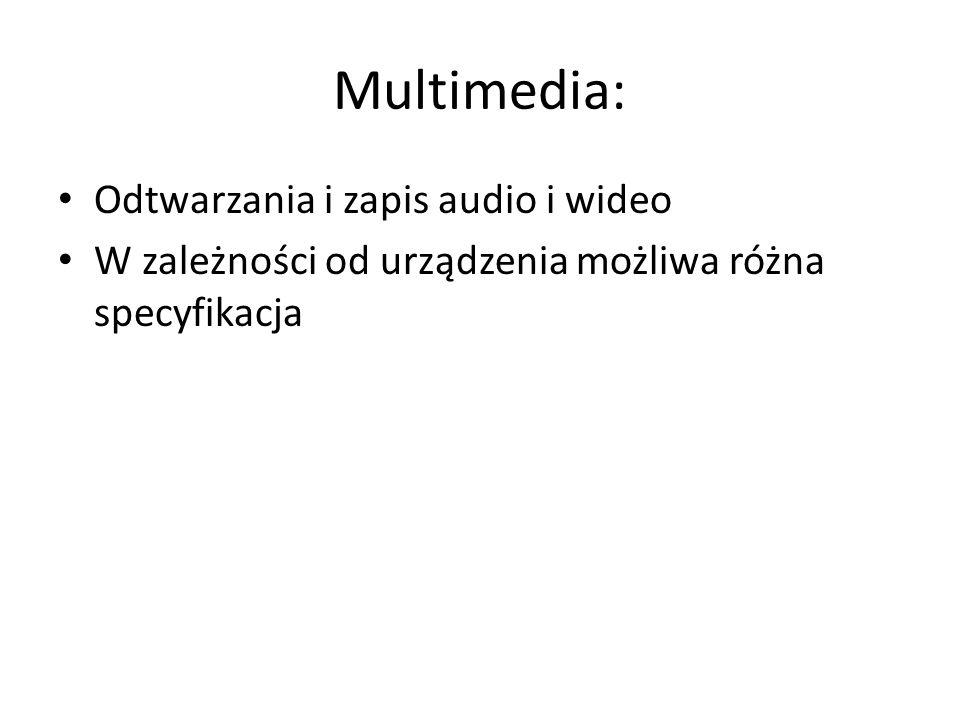 Multimedia: Odtwarzania i zapis audio i wideo