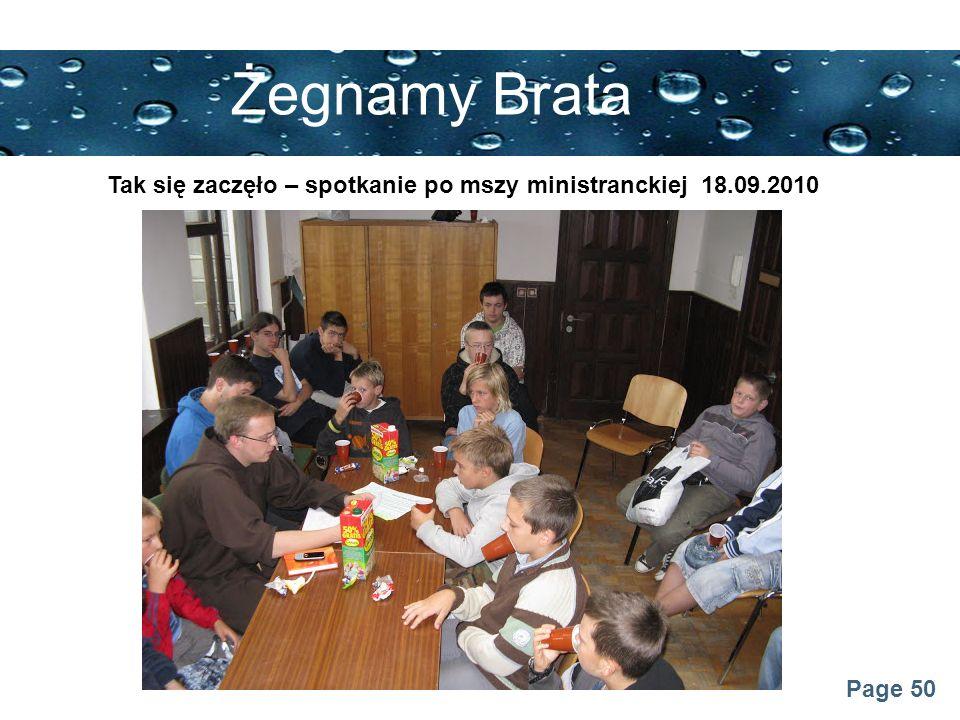 Żegnamy Brata Tak się zaczęło – spotkanie po mszy ministranckiej 18.09.2010