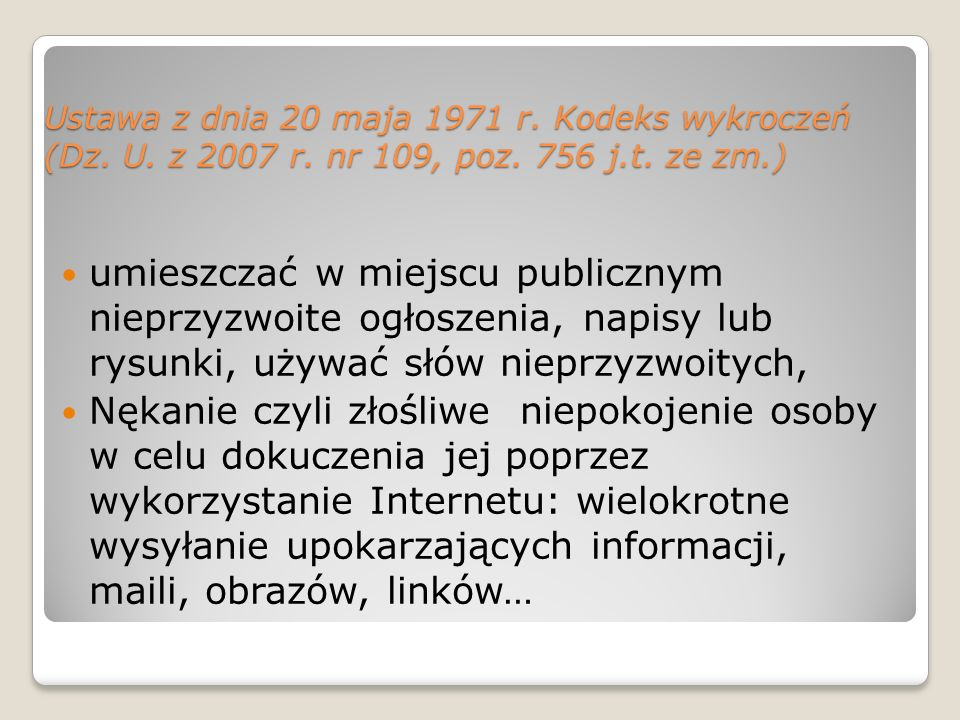 Ustawa z dnia 20 maja 1971 r. Kodeks wykroczeń (Dz. U. z 2007 r