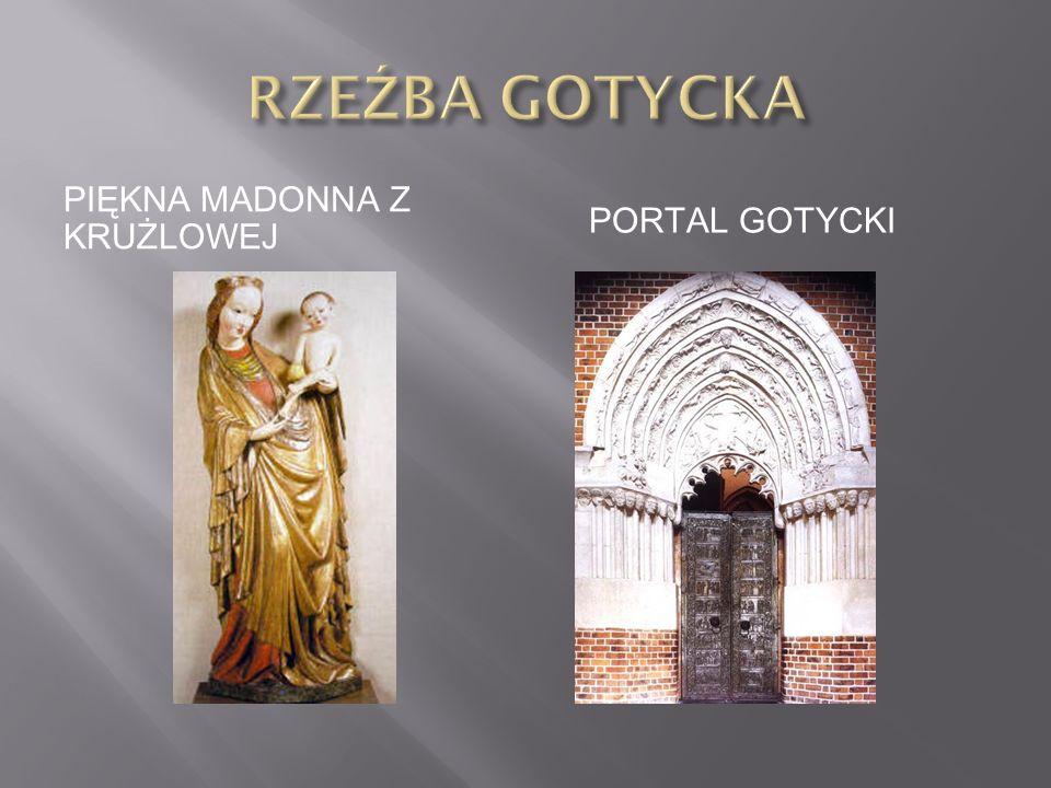 RZEŹBA GOTYCKA PIĘKNA MADONNA Z KRUŻLOWEJ Portal gotycki