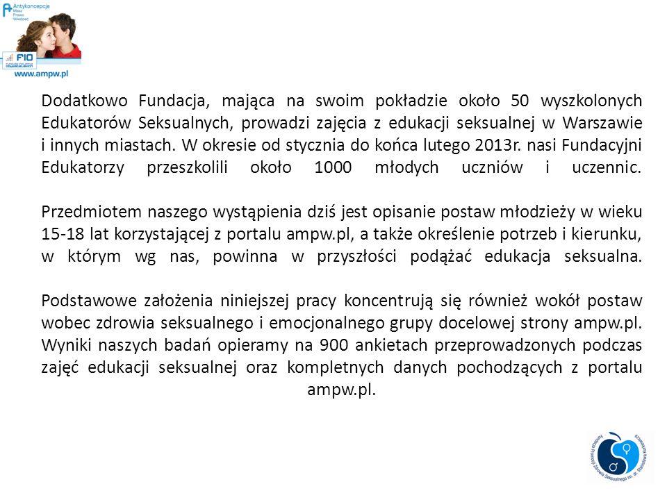 Dodatkowo Fundacja, mająca na swoim pokładzie około 50 wyszkolonych Edukatorów Seksualnych, prowadzi zajęcia z edukacji seksualnej w Warszawie i innych miastach.