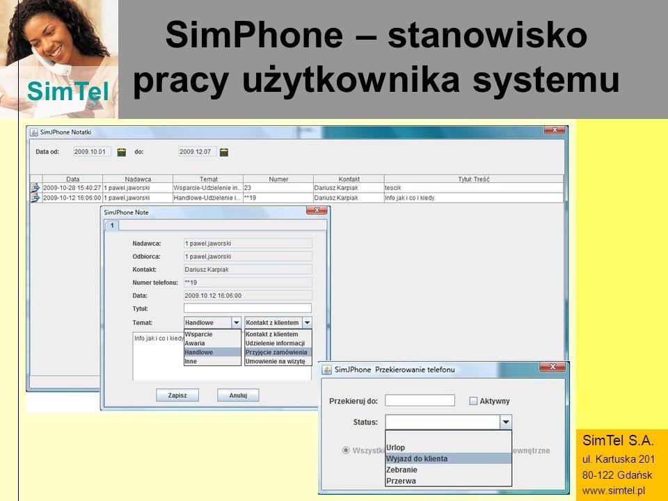 SimPhone – stanowisko pracy użytkownika systemu