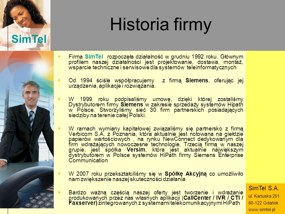 Historia firmy SimTel S.A.
