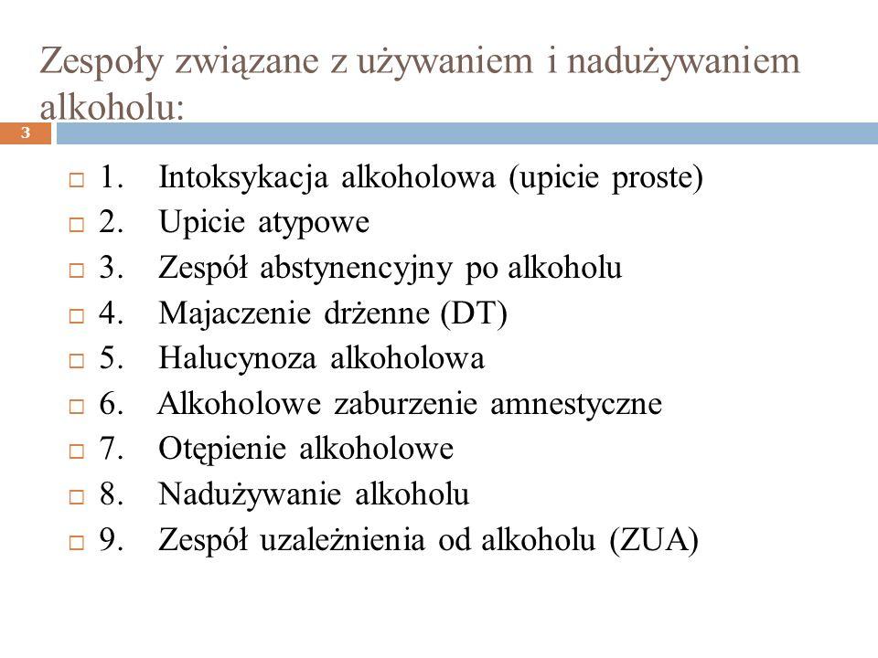 Zespoły związane z używaniem i nadużywaniem alkoholu: