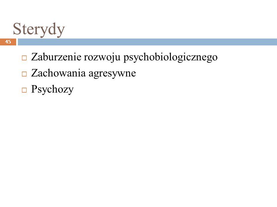Sterydy Zaburzenie rozwoju psychobiologicznego Zachowania agresywne
