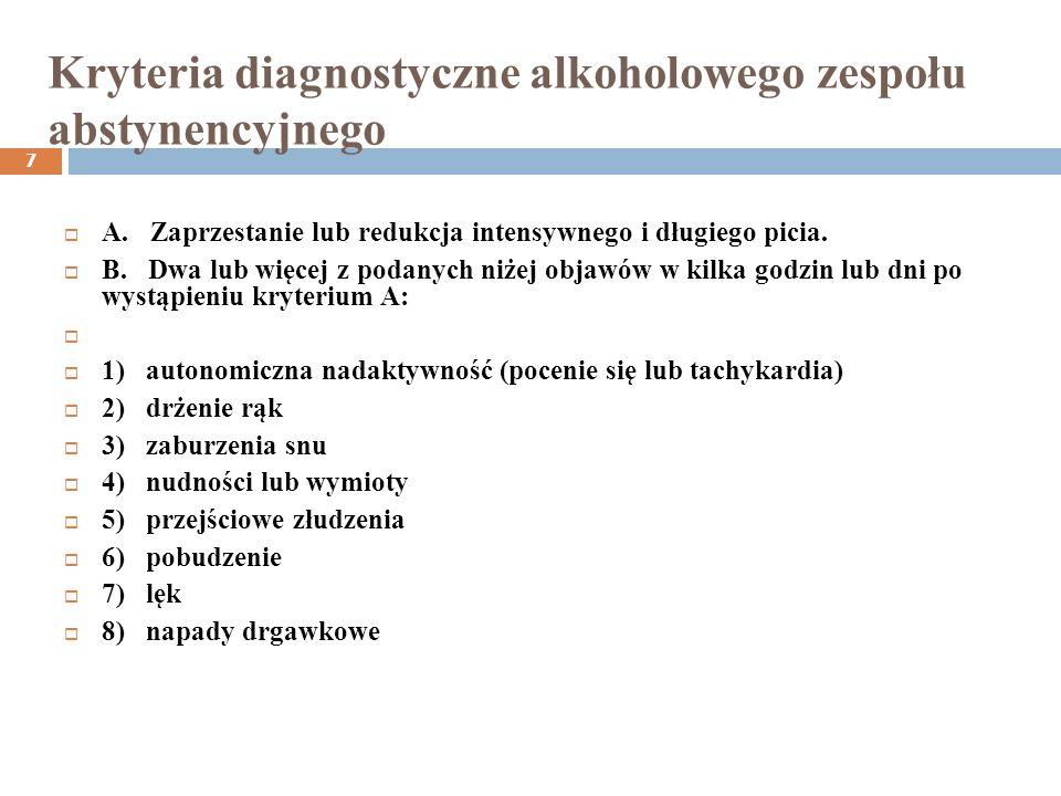 Kryteria diagnostyczne alkoholowego zespołu abstynencyjnego