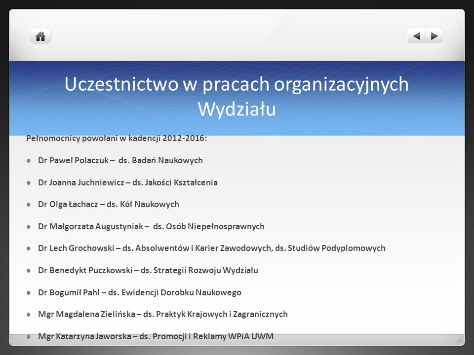 Uczestnictwo w pracach organizacyjnych Wydziału