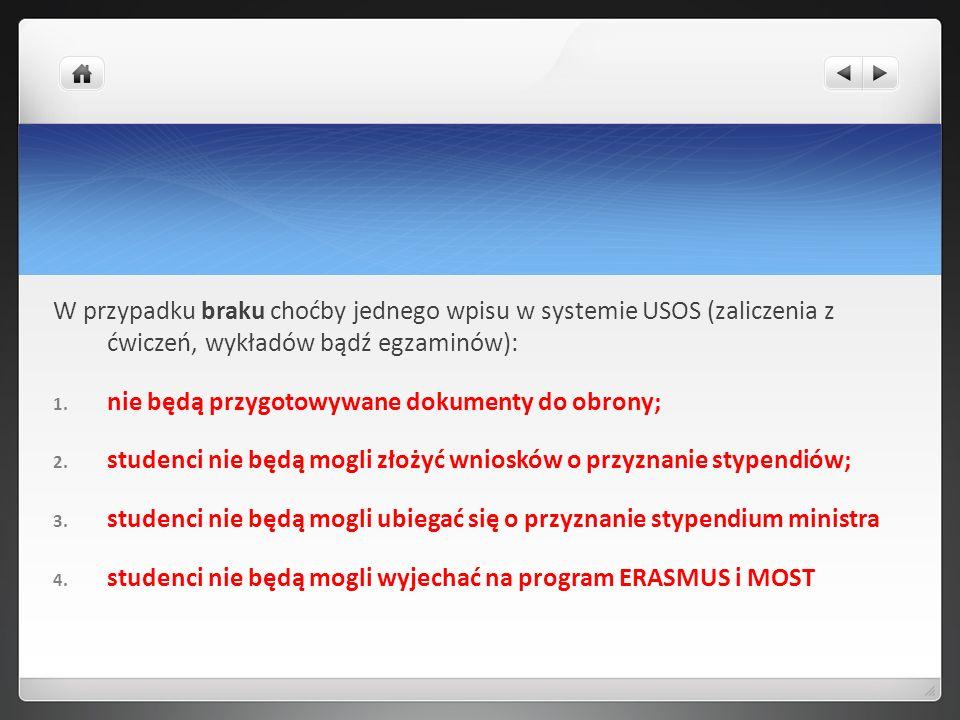 W przypadku braku choćby jednego wpisu w systemie USOS (zaliczenia z ćwiczeń, wykładów bądź egzaminów):