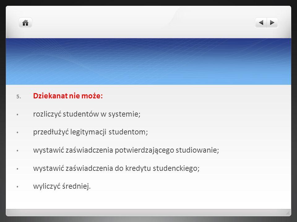 Dziekanat nie może: rozliczyć studentów w systemie; przedłużyć legitymacji studentom; wystawić zaświadczenia potwierdzającego studiowanie;