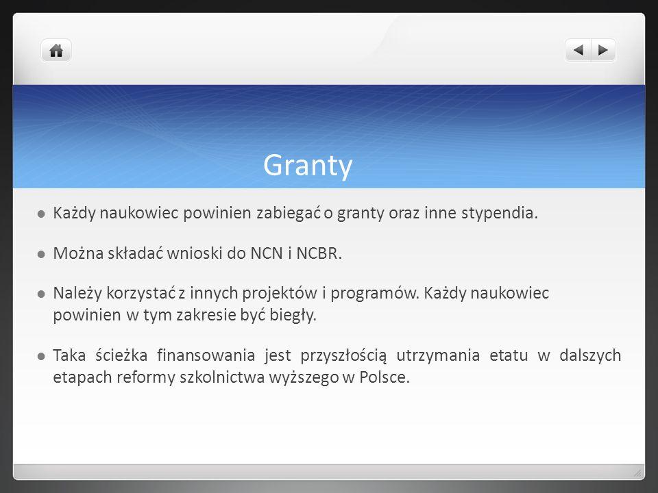 Granty Każdy naukowiec powinien zabiegać o granty oraz inne stypendia.