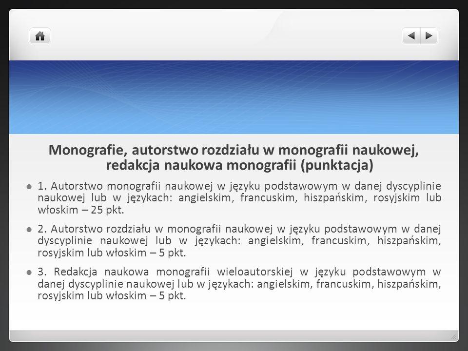 Monografie, autorstwo rozdziału w monografii naukowej, redakcja naukowa monografii (punktacja)