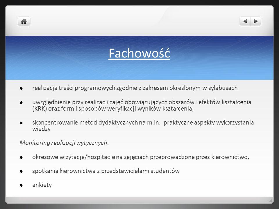 Fachowość realizacja treści programowych zgodnie z zakresem określonym w sylabusach.