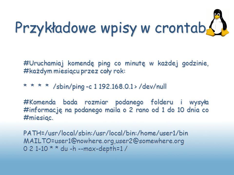Przykładowe wpisy w crontab