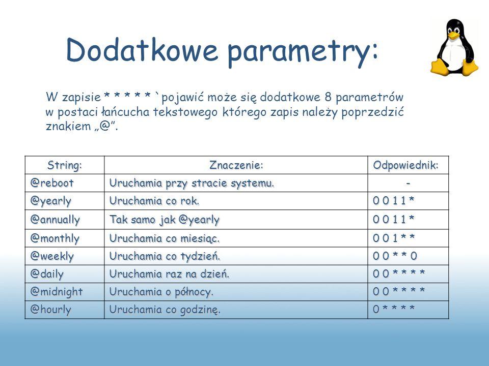 Dodatkowe parametry: