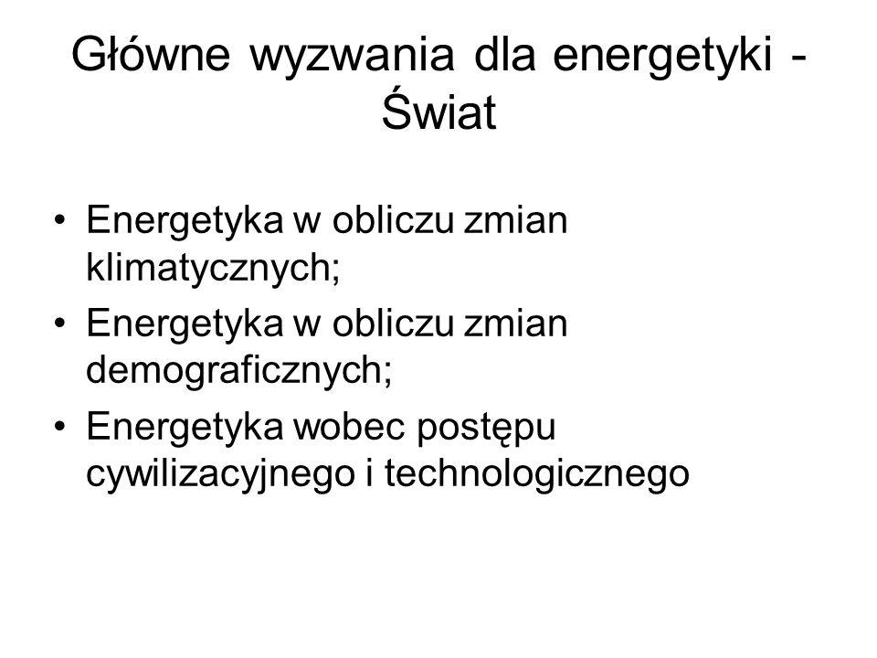 Główne wyzwania dla energetyki - Świat