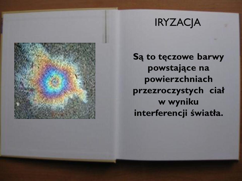 IRYZACJA Są to tęczowe barwy powstające na powierzchniach przezroczystych ciał w wyniku interferencji światła.