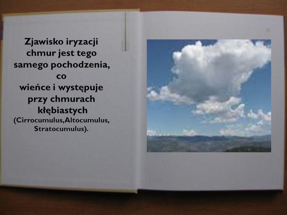 Zjawisko iryzacji chmur jest tego samego pochodzenia, co