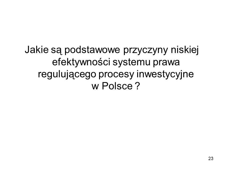 Jakie są podstawowe przyczyny niskiej efektywności systemu prawa regulującego procesy inwestycyjne w Polsce