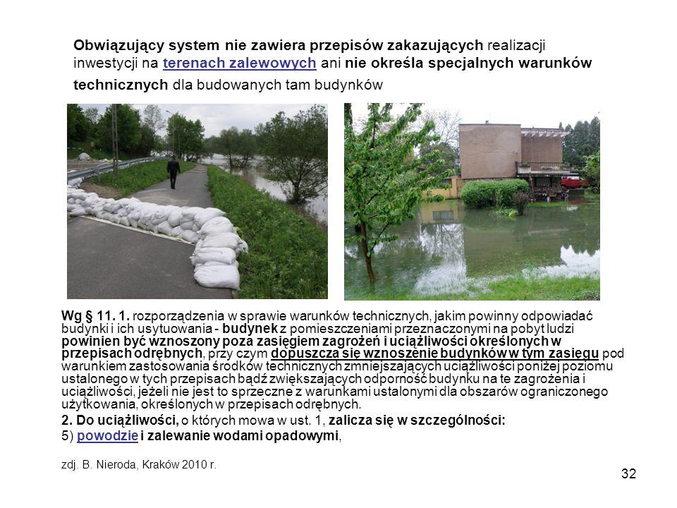 Obwiązujący system nie zawiera przepisów zakazujących realizacji inwestycji na terenach zalewowych ani nie określa specjalnych warunków technicznych dla budowanych tam budynków
