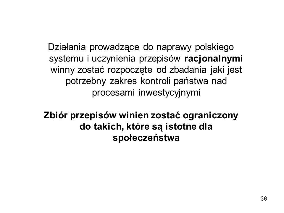 Działania prowadzące do naprawy polskiego systemu i uczynienia przepisów racjonalnymi winny zostać rozpoczęte od zbadania jaki jest potrzebny zakres kontroli państwa nad procesami inwestycyjnymi