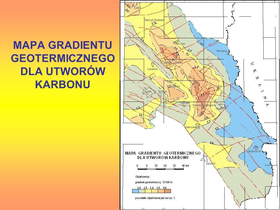 MAPA GRADIENTU GEOTERMICZNEGO DLA UTWORÓW KARBONU