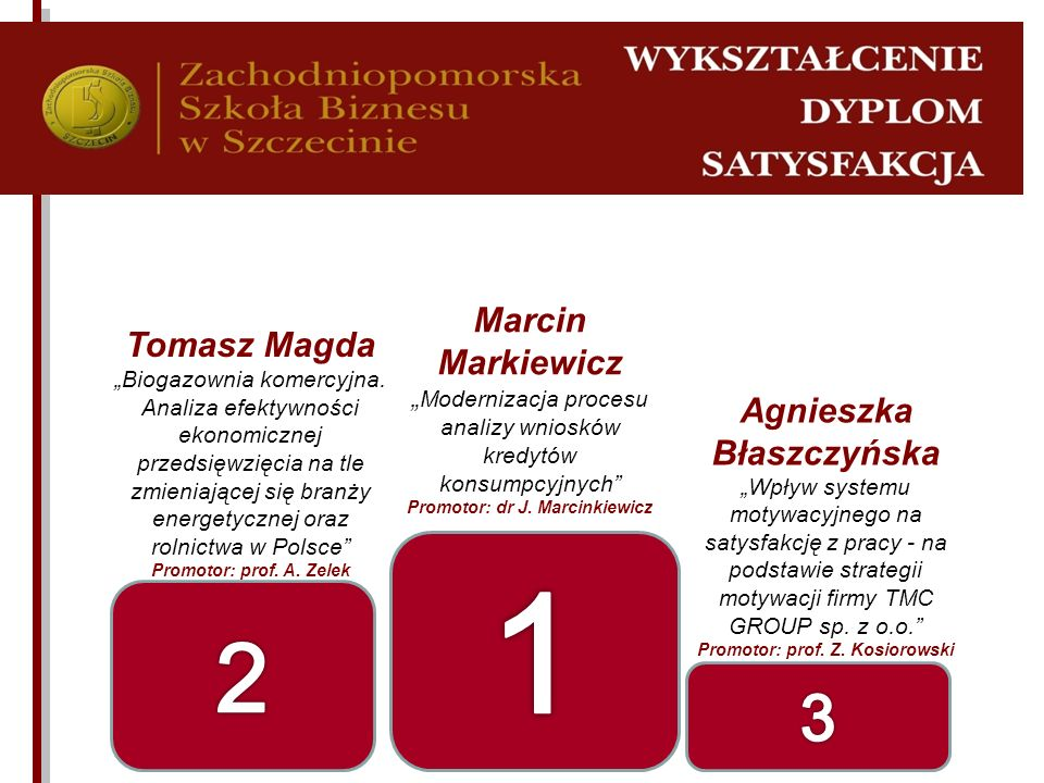 1 2 3 Marcin Markiewicz Tomasz Magda Agnieszka Błaszczyńska