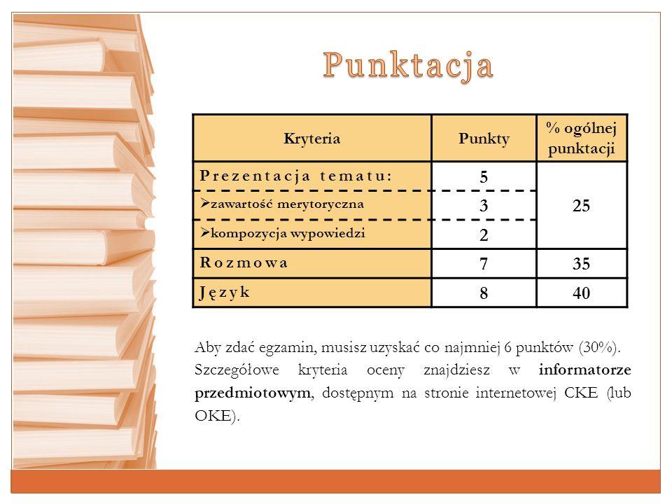 Punktacja 5 25 3 2 7 35 8 40 Kryteria Punkty % ogólnej punktacji