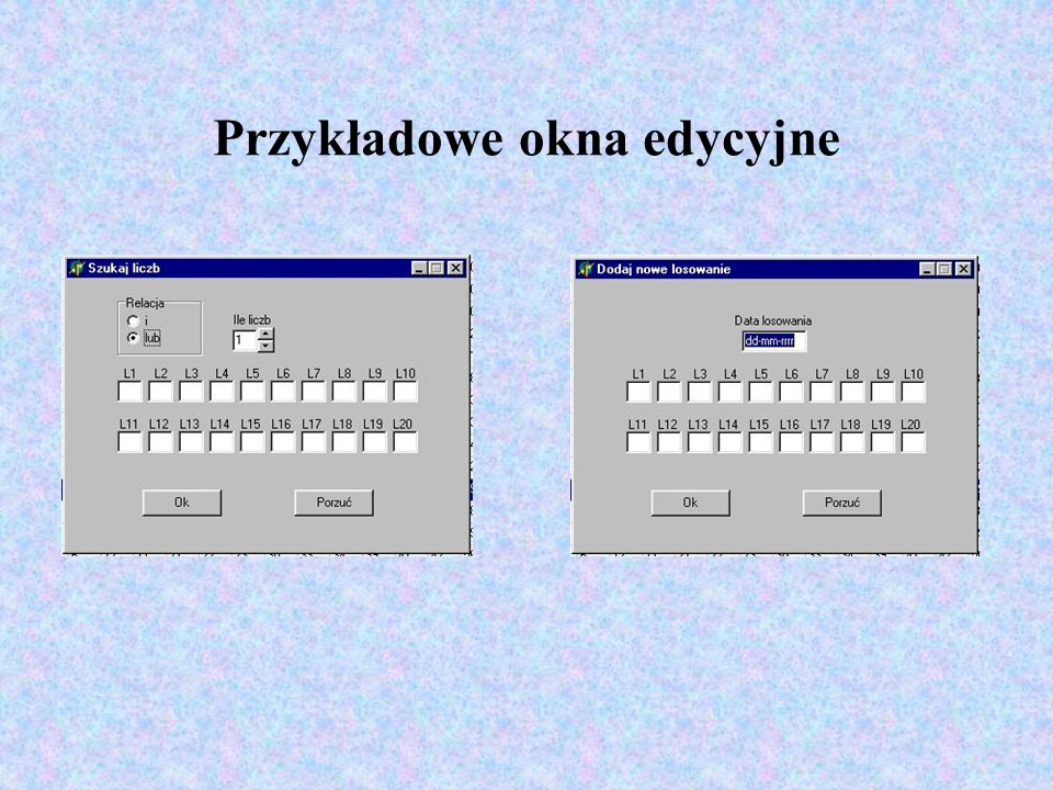 Przykładowe okna edycyjne