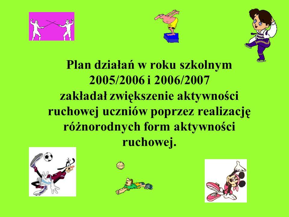 Plan działań w roku szkolnym 2005/2006 i 2006/2007 zakładał zwiększenie aktywności ruchowej uczniów poprzez realizację różnorodnych form aktywności ruchowej.