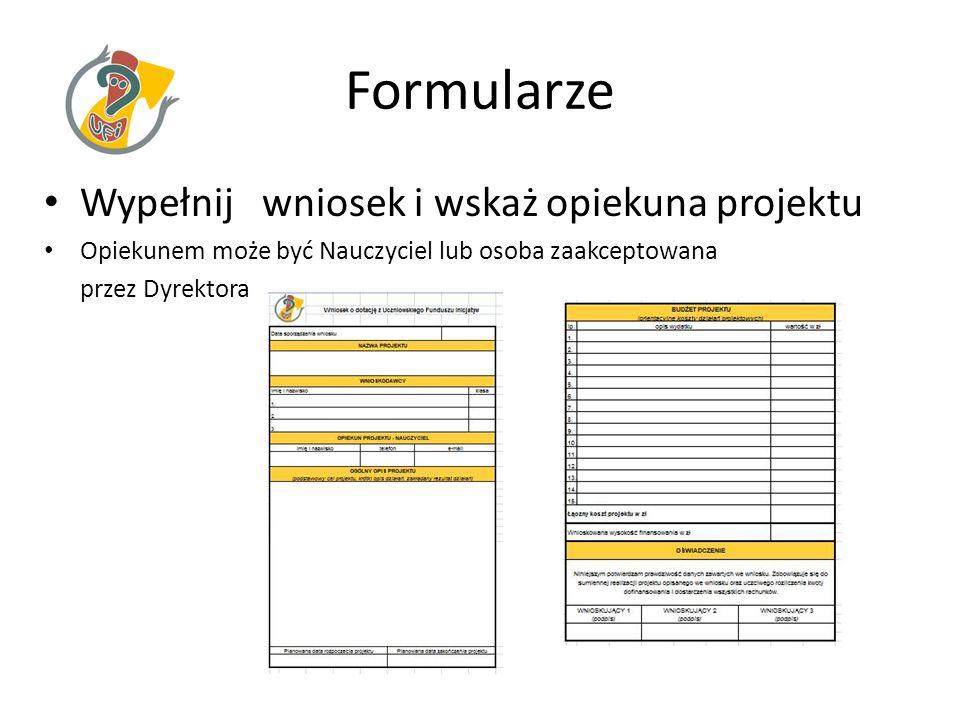 Formularze Wypełnij wniosek i wskaż opiekuna projektu