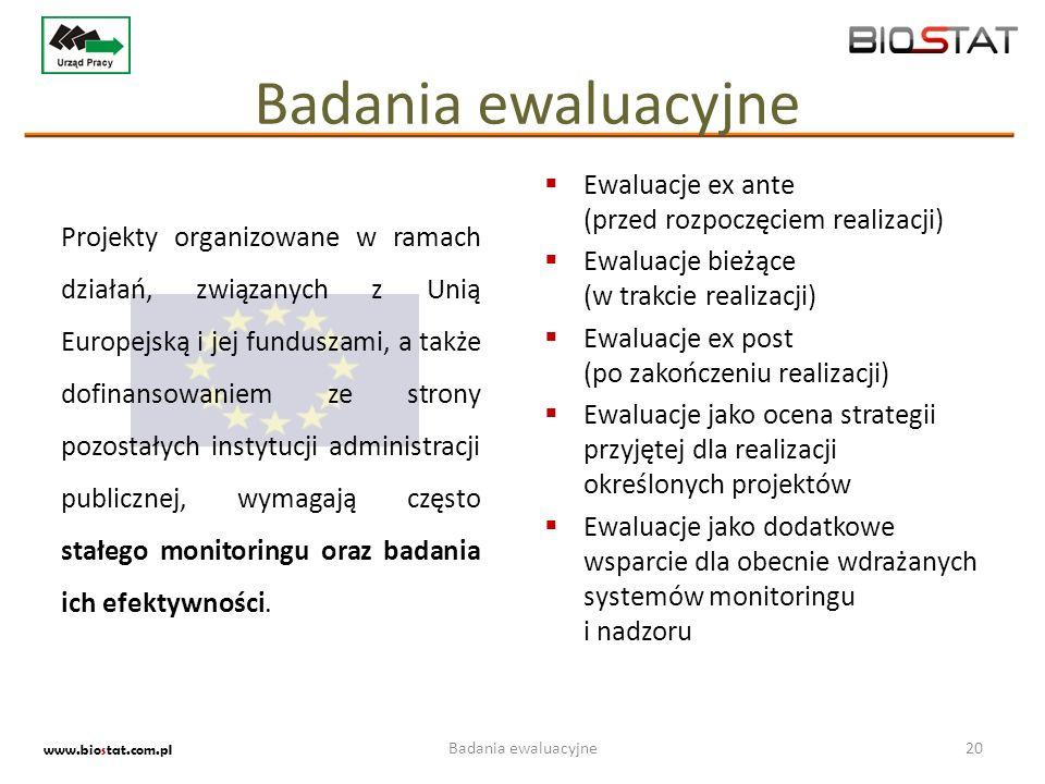 Badania ewaluacyjne Ewaluacje ex ante (przed rozpoczęciem realizacji)