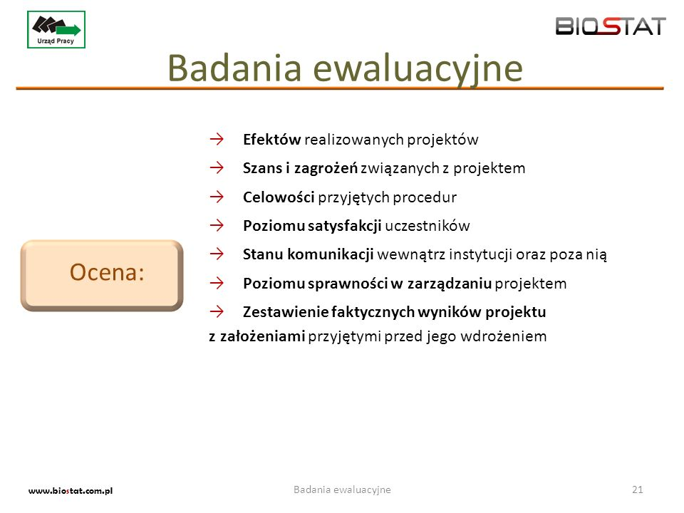 Badania ewaluacyjne Ocena: Efektów realizowanych projektów