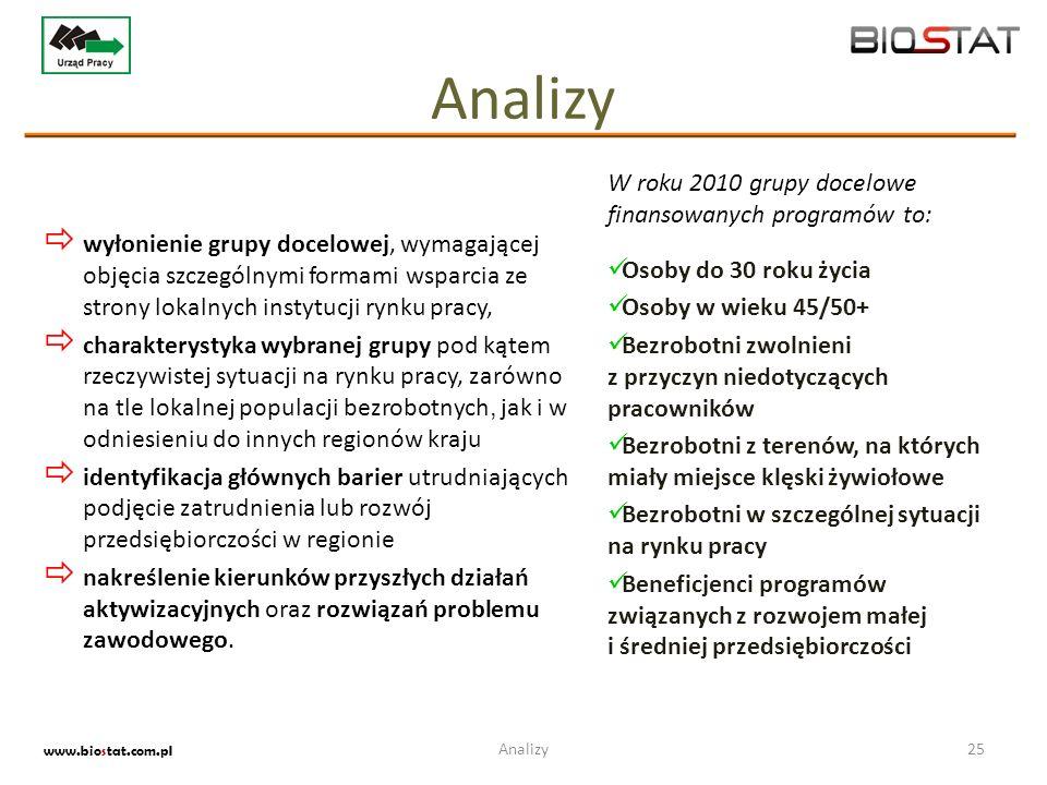Analizy W roku 2010 grupy docelowe finansowanych programów to: