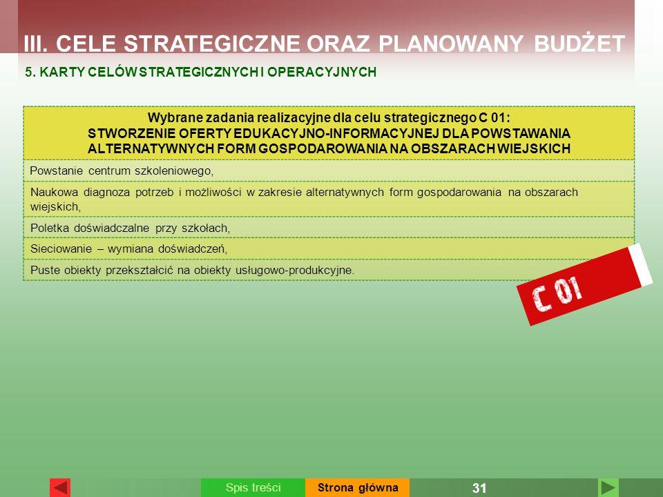 Wybrane zadania realizacyjne dla celu strategicznego C 01: