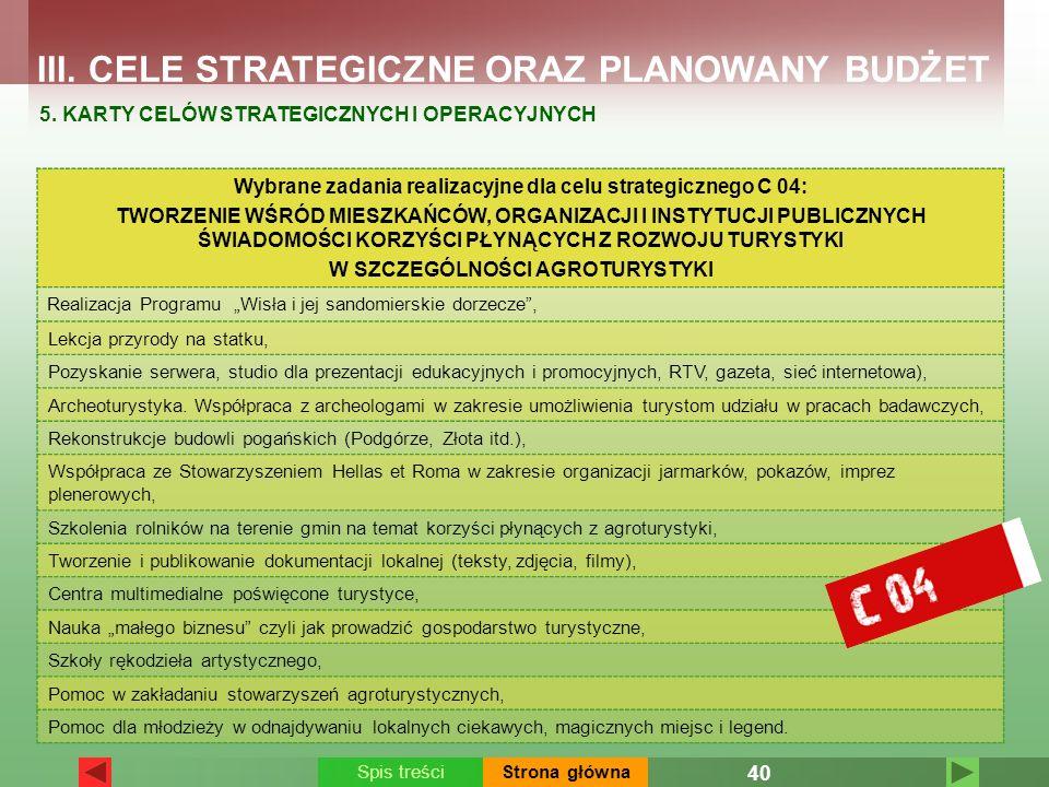 Wybrane zadania realizacyjne dla celu strategicznego C 04: