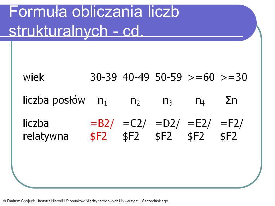 Formuła obliczania liczb strukturalnych - cd.