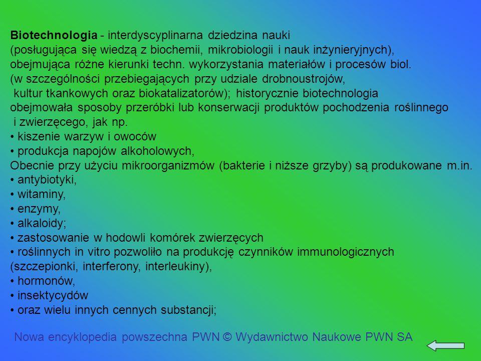 Biotechnologia - interdyscyplinarna dziedzina nauki