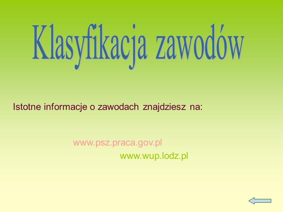 Klasyfikacja zawodów Istotne informacje o zawodach znajdziesz na: