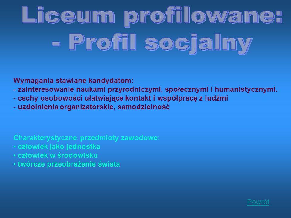Liceum profilowane: - Profil socjalny Wymagania stawiane kandydatom: