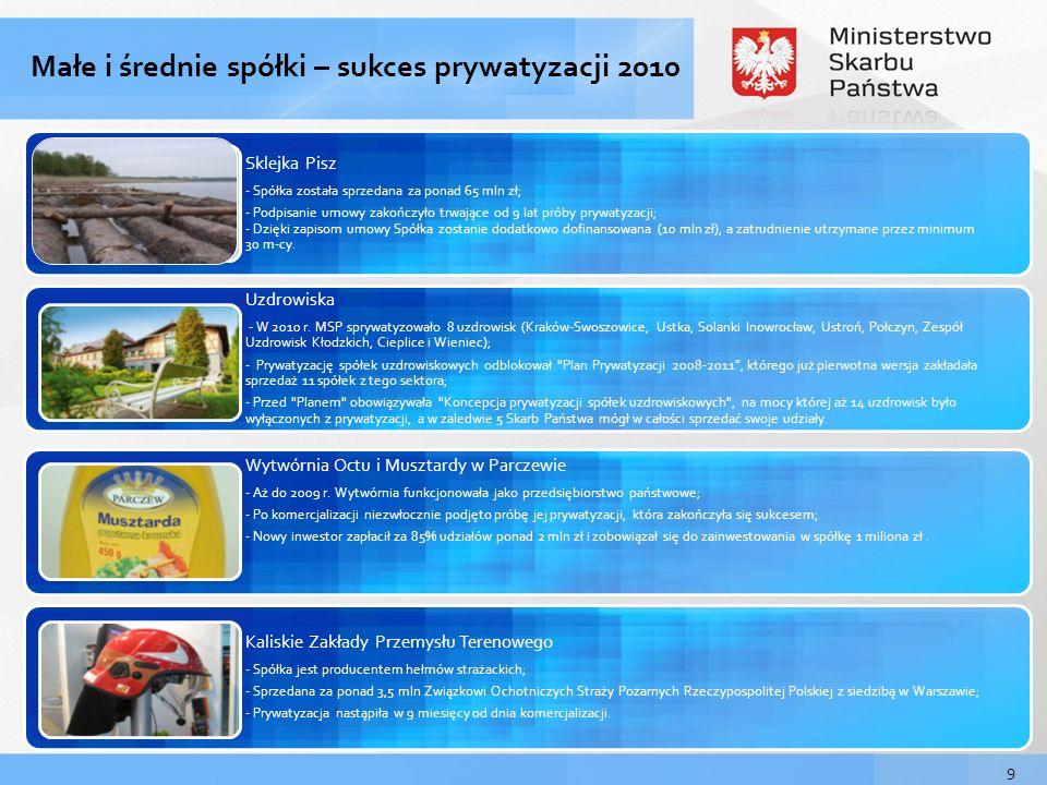 Małe i średnie spółki – sukces prywatyzacji 2010