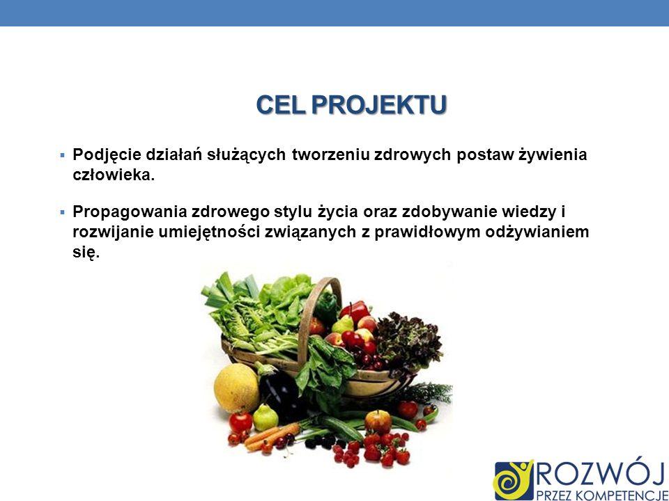 Cel projektu Podjęcie działań służących tworzeniu zdrowych postaw żywienia człowieka.